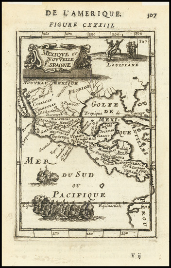 57-Texas, Southwest, Rocky Mountains and Mexico Map By Alain Manesson Mallet