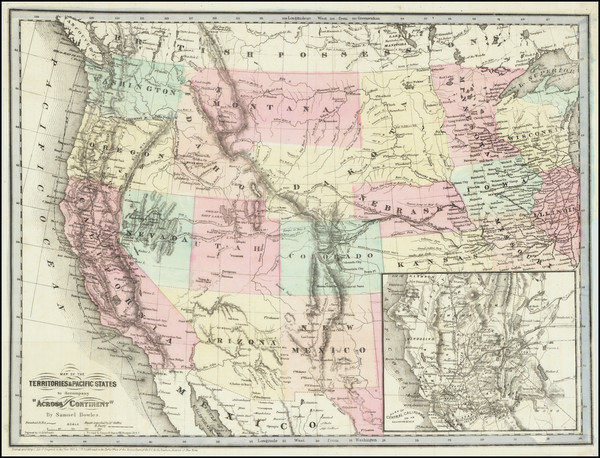 42-United States, Southwest, Rocky Mountains, Pacific Northwest and California Map By J.H. Goldthw
