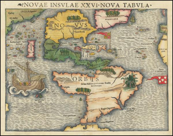 54-Western Hemisphere, North America, South America, Pacific and America Map By Sebastian Munster
