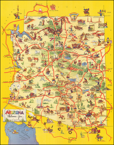 31-Arizona and Pictorial Maps Map By George  M. Avey