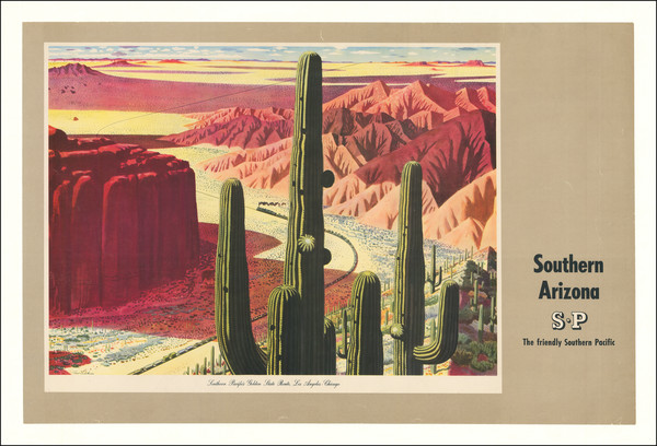 75-Arizona, Curiosities and Travel Posters Map By Southern Pacific Railroad Company / Fred Ludeken