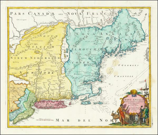 26-New England, New York State and Mid-Atlantic Map By Johann Baptist Homann