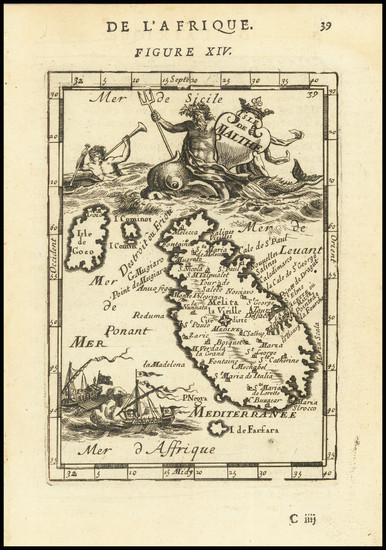 76-Malta Map By Alain Manesson Mallet