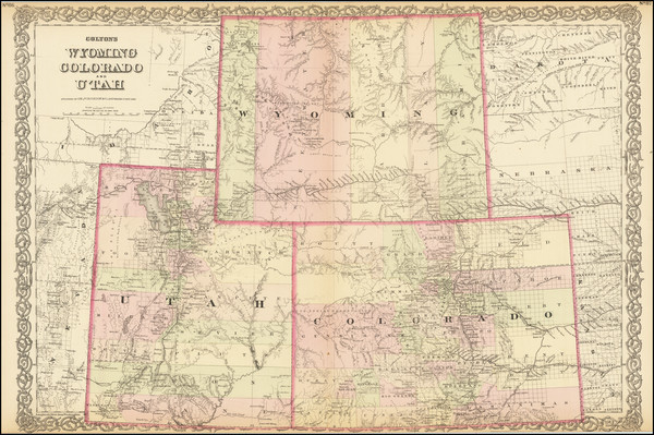 93-Plains, Rocky Mountains, Colorado, Utah and Wyoming Map By G.W.  & C.B. Colton