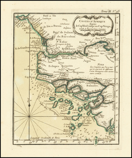 99-West Africa Map By Jacques Nicolas Bellin