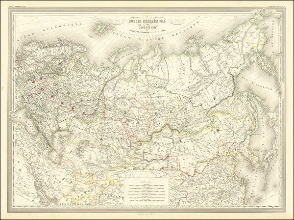 79-Russia and Russia in Asia Map By Adolphe Hippolyte Dufour