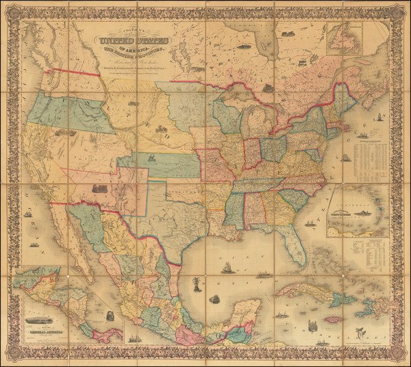 66-United States Map By Joseph Hutchins Colton