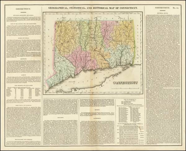 51-Connecticut Map By Henry Charles Carey  &  Isaac Lea