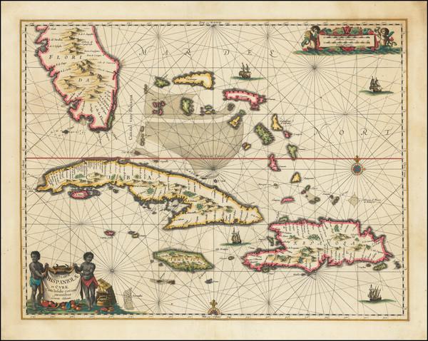 77-Florida, Cuba, Hispaniola and Bahamas Map By Jan Jansson