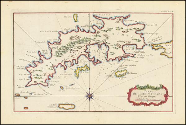 83-Virgin Islands Map By Jacques Nicolas Bellin