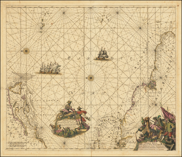 48-Atlantic Ocean, New England, Mid-Atlantic, Caribbean, Brazil and Canada Map By Frederick De Wit