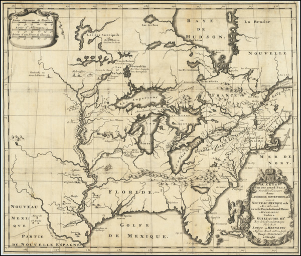 31-United States, Texas, Midwest and North America Map By Louis de Hennepin