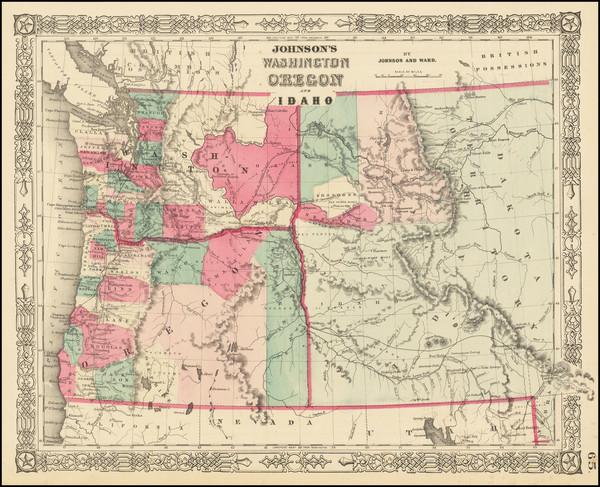 27-Idaho, Oregon and Washington Map By Benjamin P Ward  &  Alvin Jewett Johnson