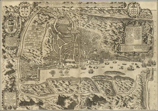 65-India Map By Jan Huygen van  Linschoten