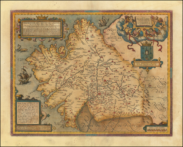88-Spain Map By Abraham Ortelius / Johannes Baptista Vrients