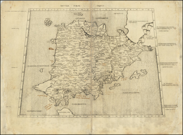 67-Spain, Portugal and Balearic Islands Map By Claudius Ptolemy