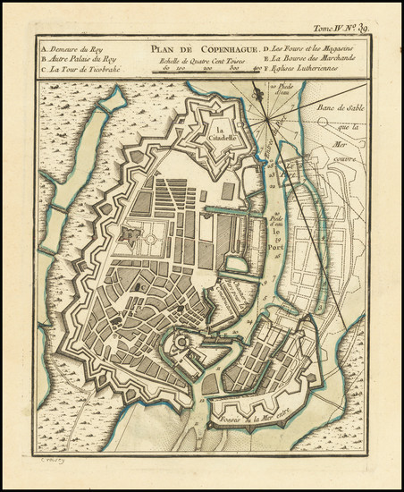 56-Denmark Map By Jacques Nicolas Bellin