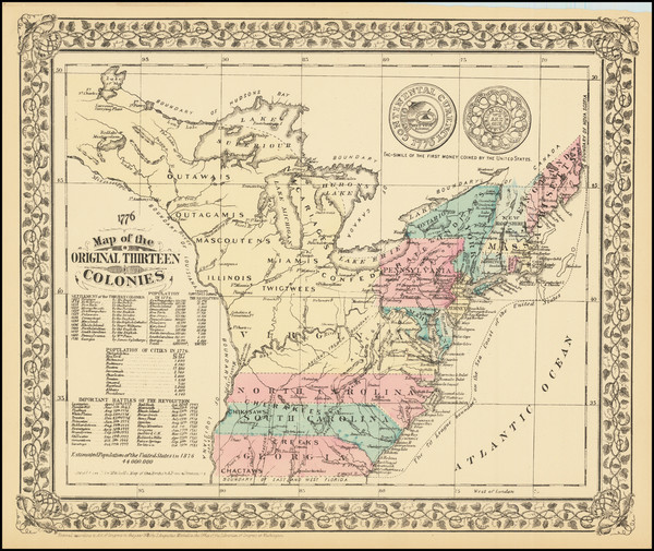 94-United States Map By Samuel Augustus Mitchell Jr.