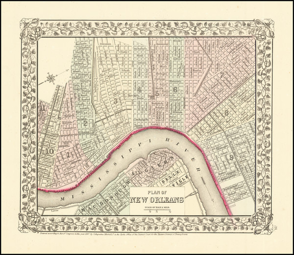 35-New Orleans Map By Samuel Augustus Mitchell Jr.