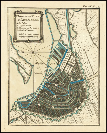 7-Amsterdam Map By Jacques Nicolas Bellin