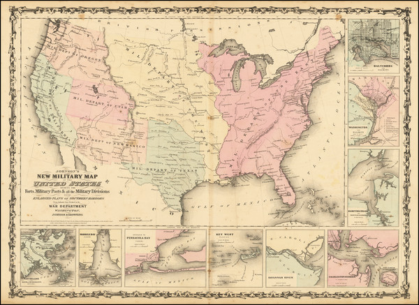 90-United States and Civil War Map By Alvin Jewett Johnson  &  Ross C. Browning
