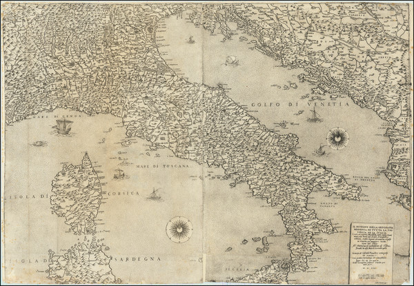 81-Italy Map By Giacomo Gastaldi / Fabius Licinius