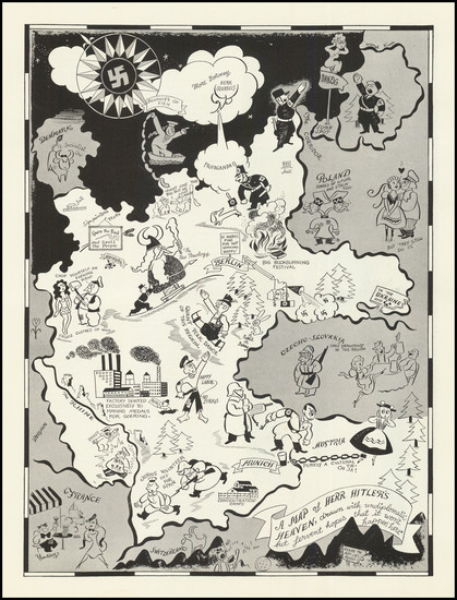 16-Western Europe, Pictorial Maps, World War II and Germany Map By Richard Q. Yardley