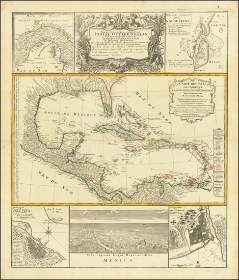 1-Florida, Mexico, Caribbean and Central America Map By Homann Heirs