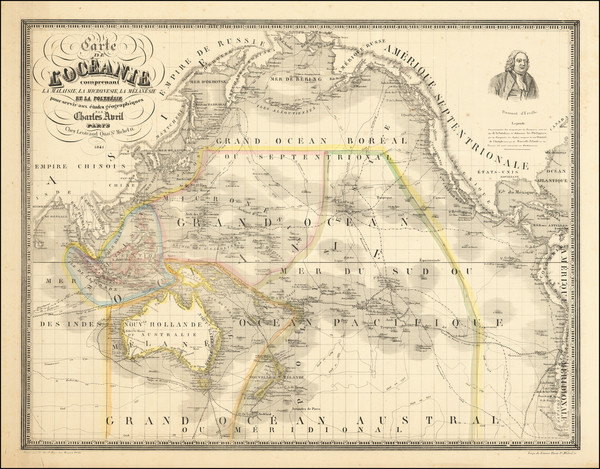 98-Pacific Ocean, Australia and Oceania Map By Charles Avril
