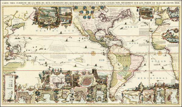7-World, World, Atlantic Ocean, North America, South America, Pacific, California and America Map