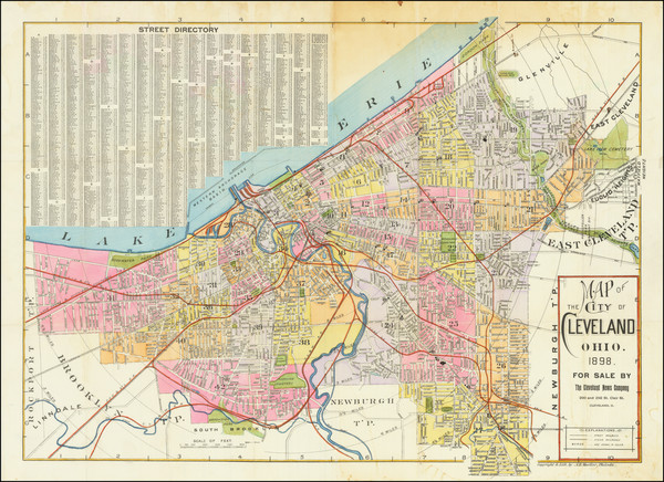 19-Ohio Map By Cleveland News Company / A.H. Mueller