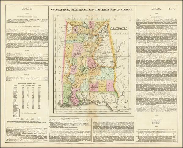 52-Alabama Map By Henry Charles Carey  &  Isaac Lea