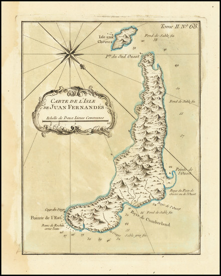 68-Chile Map By Jacques Nicolas Bellin