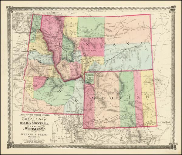 16-Idaho, Montana and Wyoming Map By H.H. Lloyd