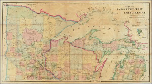 2-Michigan, Minnesota and Wisconsin Map By John Disturnell