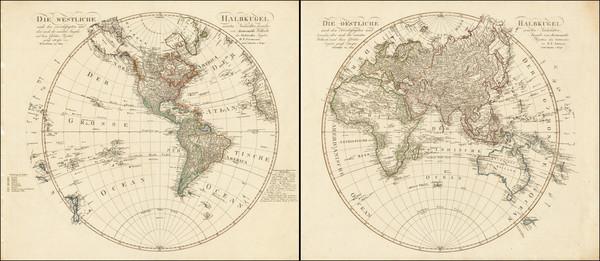 74-World, Eastern Hemisphere and Western Hemisphere Map By Daniel Friedrich Sotzmann
