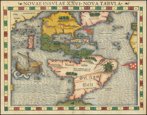20-Western Hemisphere and America Map By Sebastian Munster