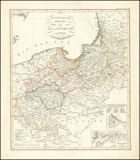 74-Poland and Germany Map By Adolf Stieler