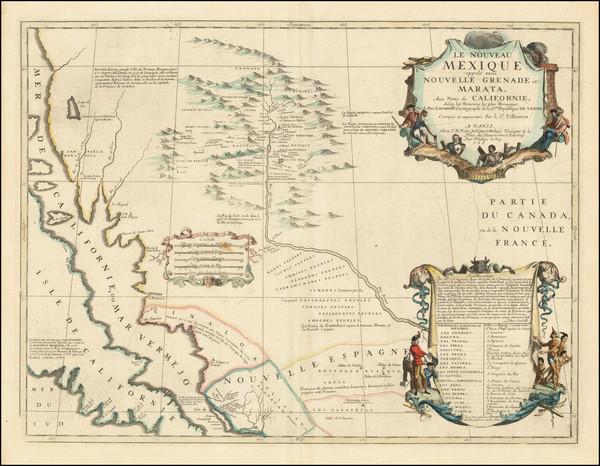 3-Texas, Southwest, Arizona, New Mexico and California Map By Vincenzo Maria Coronelli / Jean-Bap