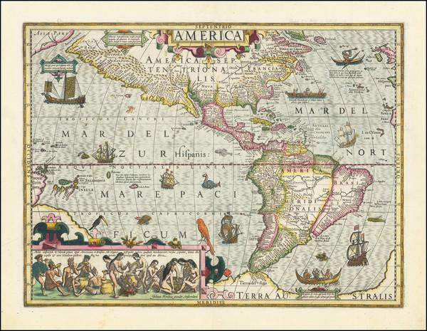 15-Western Hemisphere and America Map By Jodocus Hondius