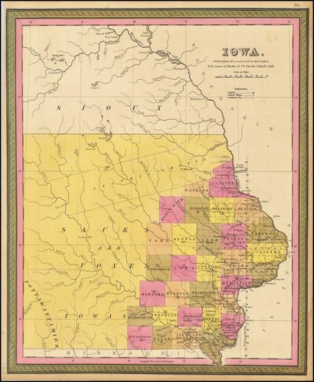 20-Iowa Map By Samuel Augustus Mitchell