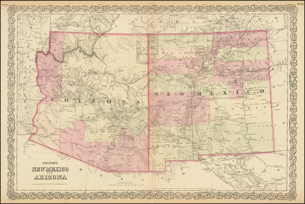 33-Arizona and New Mexico Map By G.W.  & C.B. Colton