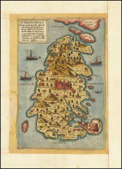 30-Malta Map By Giovanni Francesco Camocio