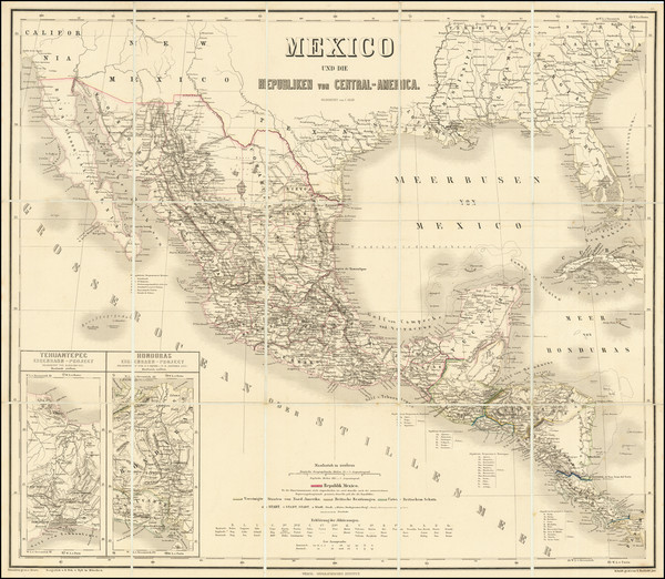 58-Texas, Mexico and Central America Map By Weimar Geographische Institut