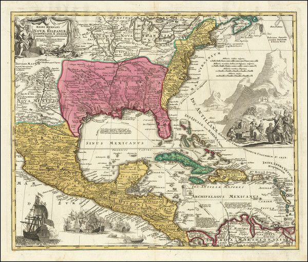 25-United States and Caribbean Map By Johann Baptist Homann