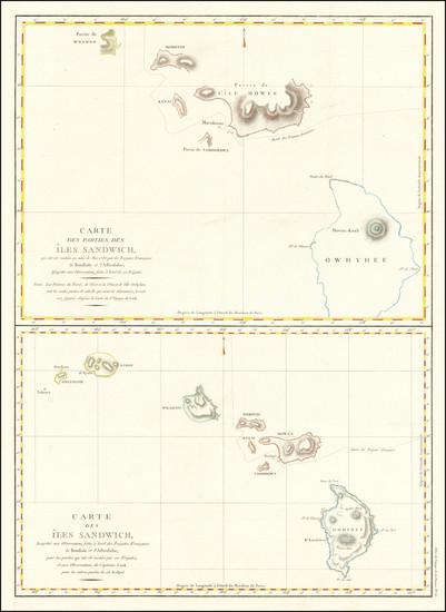 90-Hawaii and Hawaii Map By Jean Francois Galaup de La Perouse
