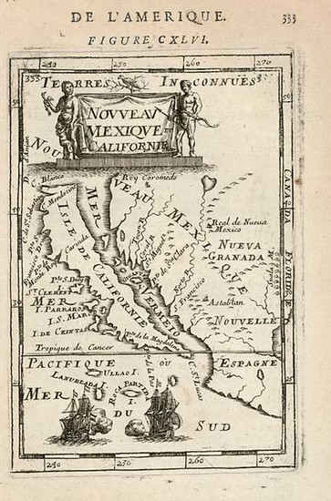 46-Mexico, Baja California and California Map By Alain Manesson Mallet
