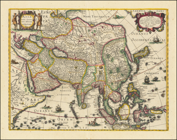 90-Asia and Asia Map By Jodocus Hondius