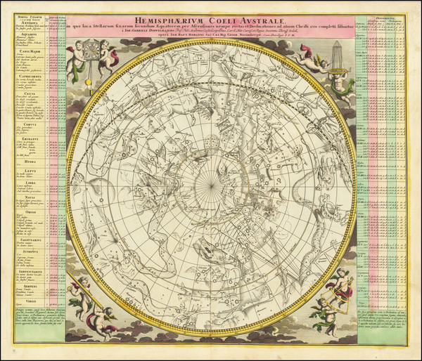6-Celestial Maps Map By Johann Gabriele Doppelmayr