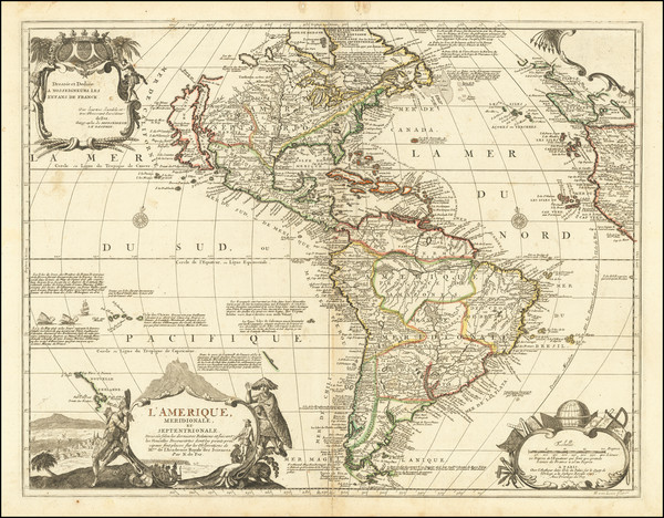21-North America, California as an Island and America Map By Nicolas de Fer